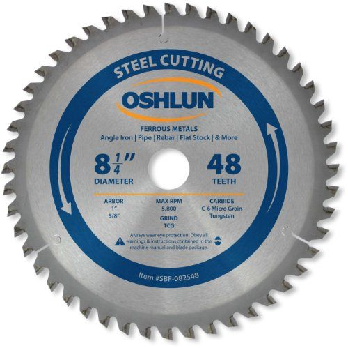 Oshlun Sbf 082548 8 1 4 Inch 48 Tooth Tcg Saw Blade With 1 Inch Arbor 5 8 Inch Bushing For Mild Steel And Ferrous Metals Corrugated Metal Metal Panels Metal Ceiling