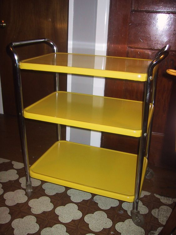 vintage cosco retro 3 tiered yellow metal kitchen utility rolling cart