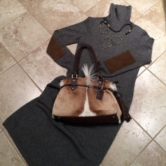 RALPH LAUREN LONG DRESSHOST PICK!! 55% cashmere 45% soft wool. Long sleeves, grey in color with brown suede patches for elbow accents. Like new. Ralph Lauren Dresses