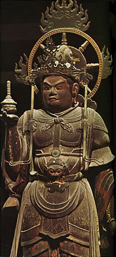 Wooden standing statue of Vaisravana  It was produced for 1078 years. Heian era. Nara Japan.
