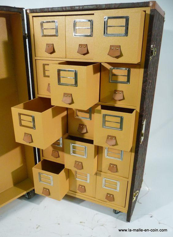 Malle pour  15 paires de souliers du  32  au 50  .   Étagères en Zebrano   Structure en peuplier  , recouverte  de toile enduite  brodée