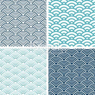 Motif, Vectoriel, Motif en vagues, Illustration et peinture, Culture japonaise Illustration vectorielle libre de droits