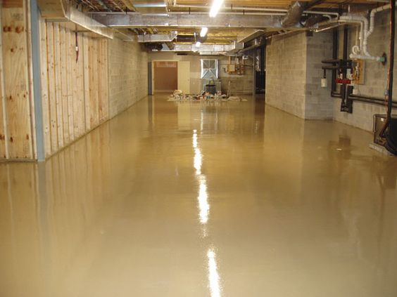 Basement with tan epoxy floors -- want to do this!