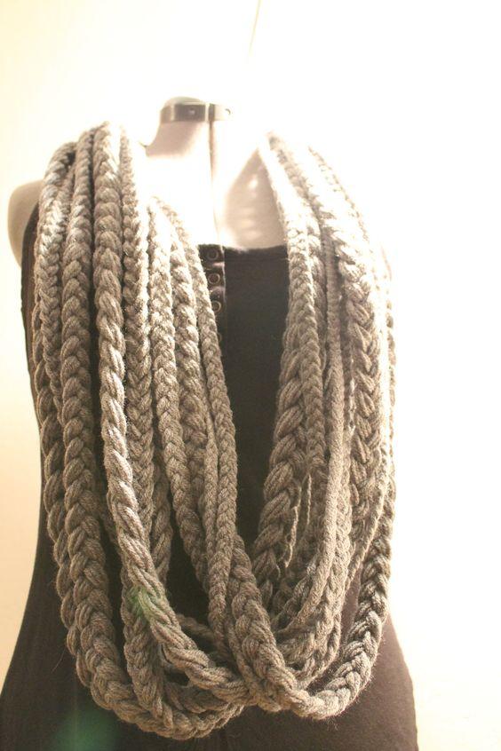 Knitting Pattern Braided Scarf : Braided Yarn Infinity Scarf Knitting & Crochet Pinterest Yarns, Inf...
