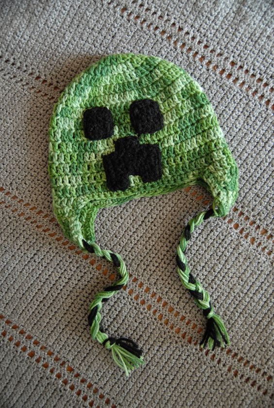 Free Crochet Patterns For Minecraft : Minecraft Creeper crochet hat. - MINECRAFT Pinterest ...