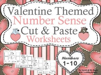 Valentine Themed Number Sense (1-10) Cut and Paste Worksheets ...