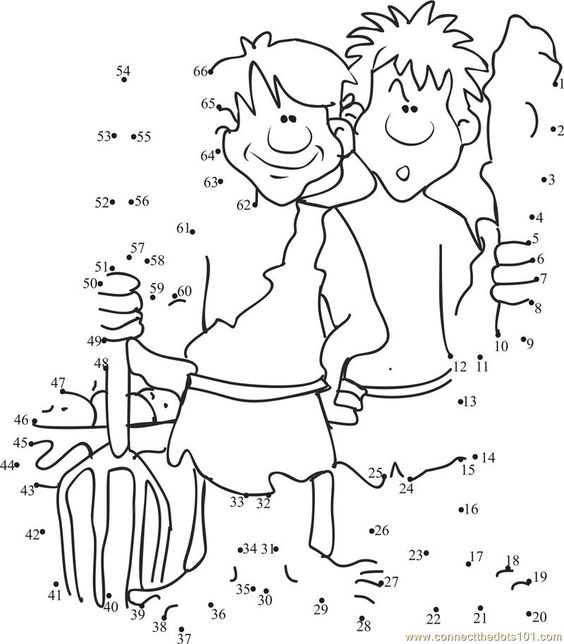 Connect the dots Cain and Abel worksheet, Dot to dots page