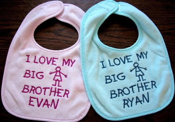 Baby Gifts Zurich : Personalized i love my big sister or brother baby bib