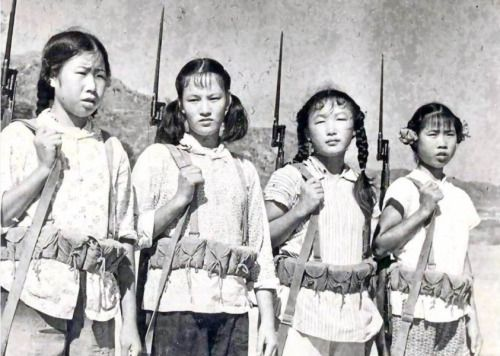 Chinese girls in militia armed with Type 53 Mosin-Nagant carbines via reddit