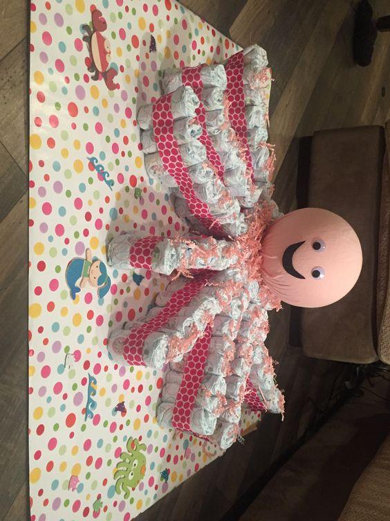 Ollie the Octopus diaper cake for Britt