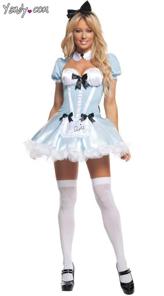 Party Alice Costume The Party Alice costume includes a pale blue mini dress with cut out front and back detail, attached puff sleeves, collar, black satin bows, apron, oversized back bow, lace trim and black bow head band. (Stockings and petticoat not included.) **Sale Price: $57.95 not in extra small only small