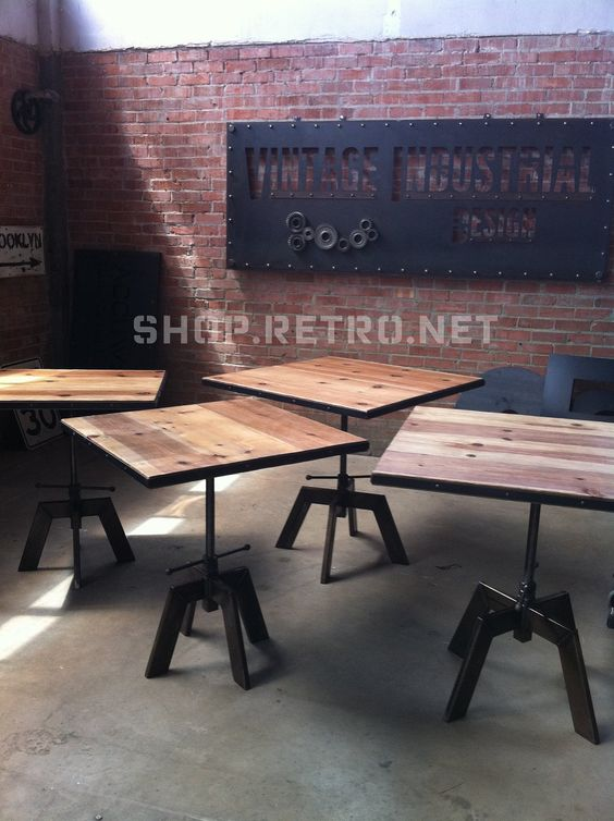 Adjustable height is a great idea vintage industrial cafe for Table bar industriel