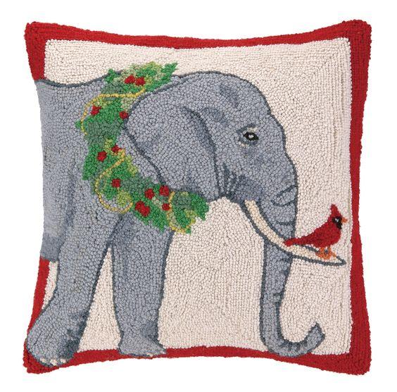 Safari Elephant Wreath Hook Wool Throw Pillow