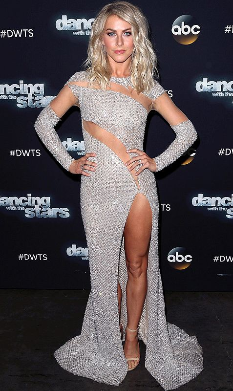 Julianne Hough in a sparkly, high-slit, sheer cutout Mikael D dress at Dancing With the Stars