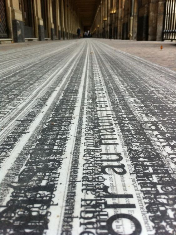 Text(e) Fil(e)s, a 252m long floor installation at the Palais-Royal by Pascal Dombis http://twitter.com/coolhunting/status/26267457156 #typography #art_installation