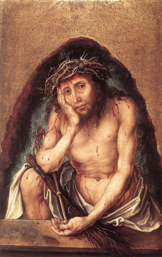 DÜRER, Albrecht Christ as the Man of Sorrows c. 1493 Oil on panel, 30 x 19 cm Staatliche Kunsthalle, Karlsruhe