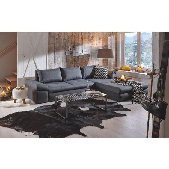 WOHNLANDSCHAFT In Anthrazit Grau Textil