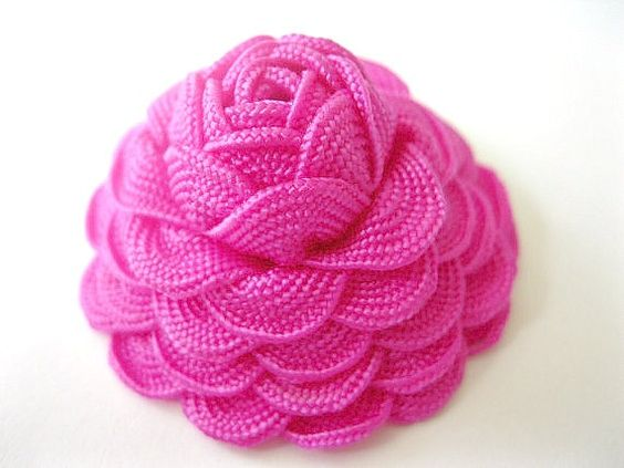Hot Pink Rose Hair Clip Headband Barrette Brooch or Ponytail Holder- Art Deco RickRack Flower Hair Accessories- you choose attachment, $6