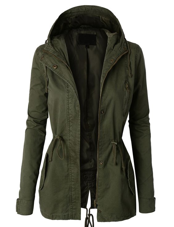 Womens Anorak Jacket with Hood and Drawstring Waist | Neutral