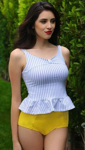 Celia two-piece swimsuit in Hello Sunshine.  Designed by Jessica Rey, TEDx speaker RE: modesty and empowerment.  Blue and white striped seersucker looking top with yellow bottoms