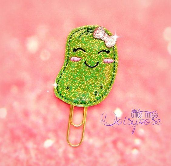 PICKLE glitter paper clip by LittleMissDaisyrose on Etsy