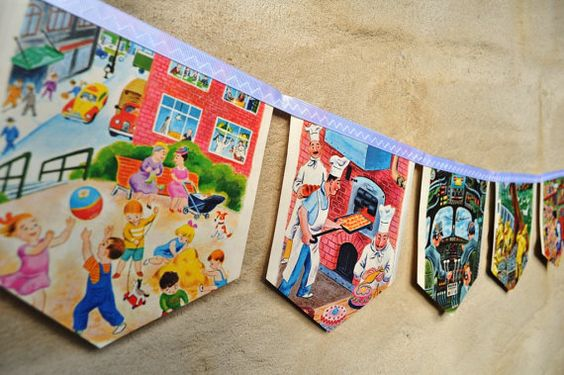 Bunting made of 're-purposed', vintage Little Golden Books Daddies... from Etsy...