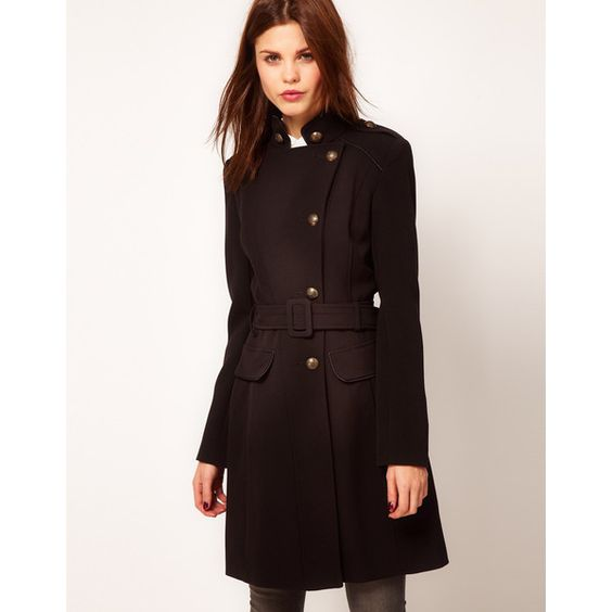 Warehouse Black Military Coat ❤ liked on Polyvore | My Style ...