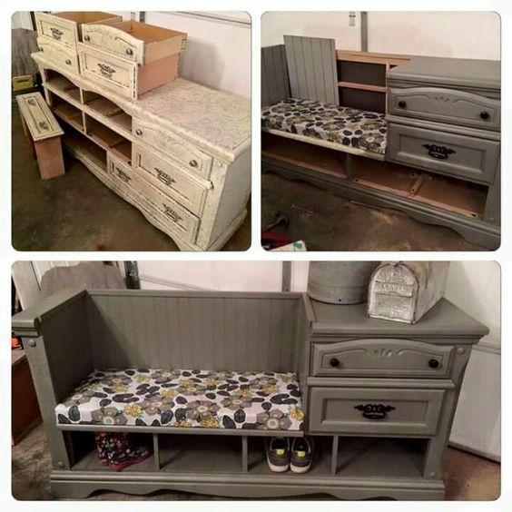 Old dresser bench: