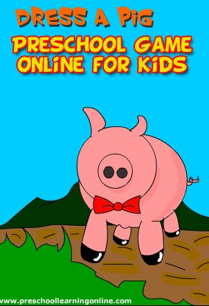 Fun online dressup game for kids and preschool children to drag and drop funny little outfits on to a funny little pig character. Play Free anytime!   #preschoolgames http://www.preschoollearningonline.com/preschool-games/pig-dress-up-games-for-kids.html