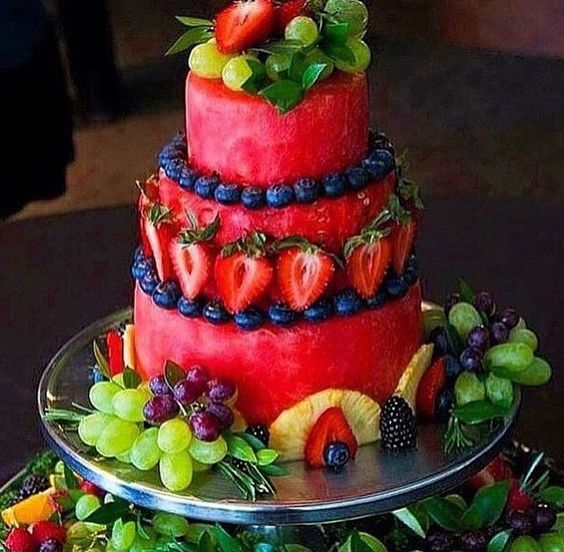 Fruit cake made out of watermelon