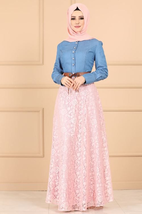 Modaselvim Elbise Etegi Dantel Kemerli Elbise 09w153 Koyu Kot Somon Elbise Kiyafet Elbiseler