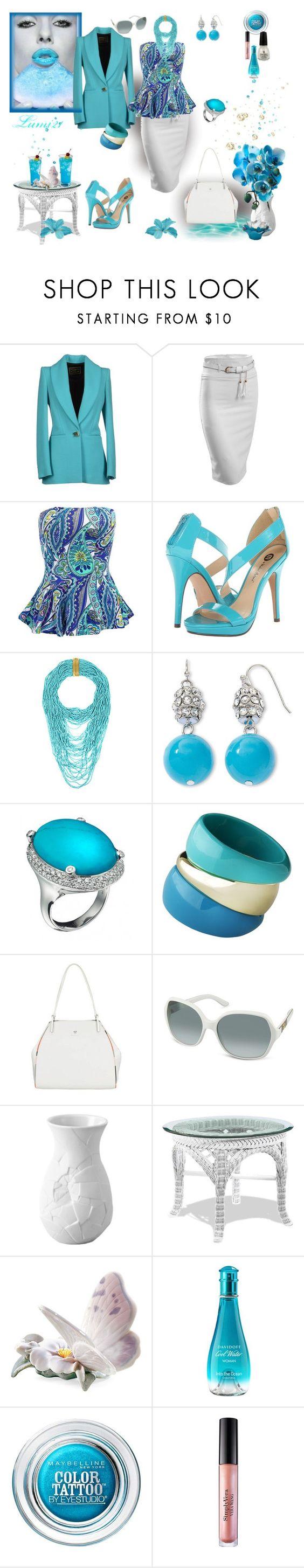 """elegance blue summer"" by lumi-21 ❤ liked on Polyvore featuring FAUSTO PUGLISI, LE3NO, Michael Antonio, BCBGMAXAZRIA, Liz Claiborne, Modalu, Gucci, Rosenthal, Lladró and Davidoff"