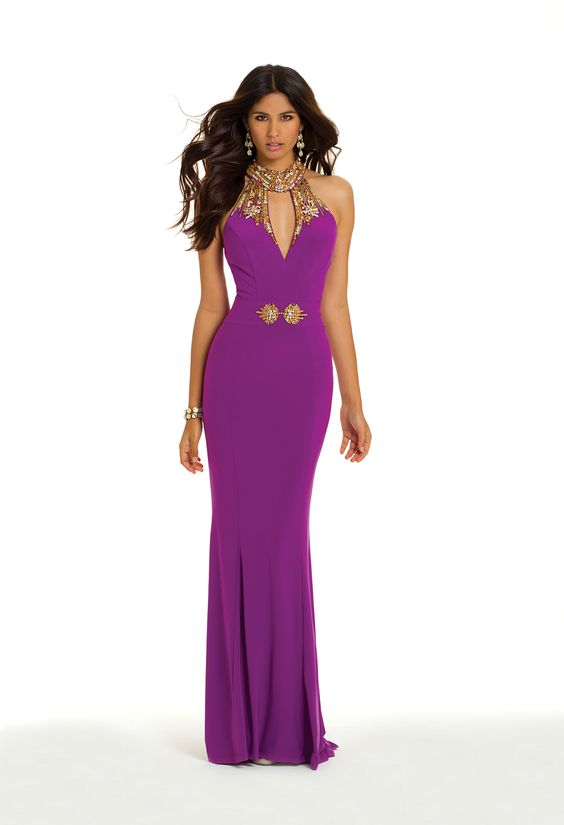 Camille La Vie Beaded Keyhole Cleo Collar Prom Dress