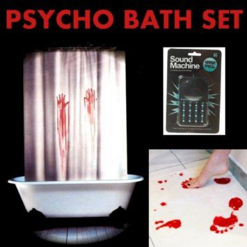 Psycho bathroom set bloody bath mat shower curtain for Bathroom noise maker