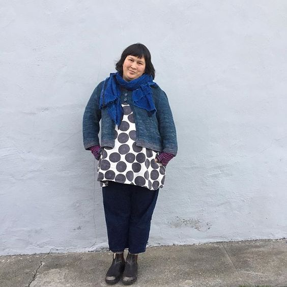 New Year's Day edition of #handmadewardrobechronicles wearing an indigo dyed scarf; Cria cardigan pattern by @ysolda; modified #100actsofsewing Dress no. 1; denim pants (own pattern); Blundstone boots