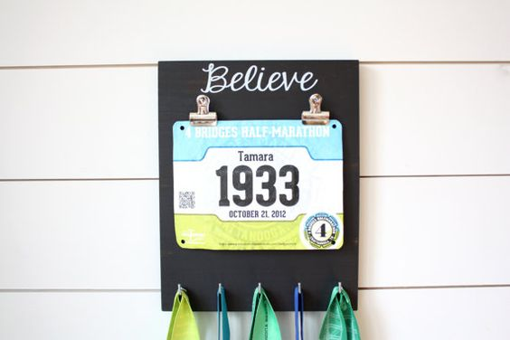 Race Bib and Medal Holder  Believe by YorkSignShop on Etsy
