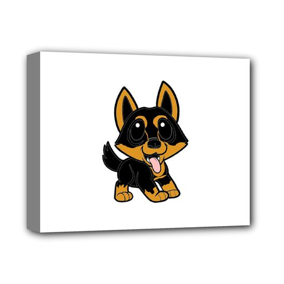 """Lancashire+Heeler+Cartoon+Deluxe+Canvas+14""""+x+11""""+Deluxe+Canvas+14""""+x+11""""+(Stretched)"""