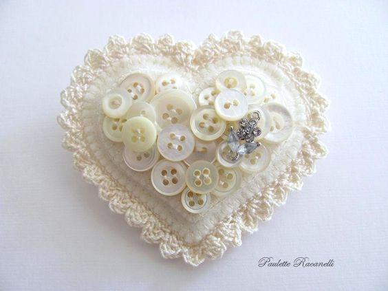 Felt Button Heart Pin. $25.00, via Etsy.