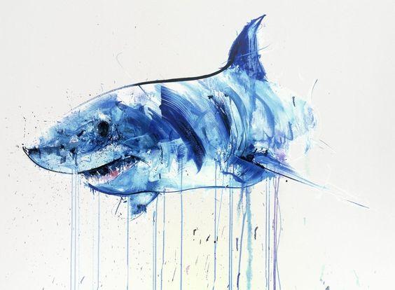 青色の滴るホホジロザメ