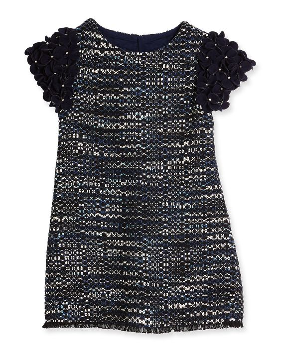 Ida Floral-Trim Tweed Shift Dress, Navy, Size 5-8