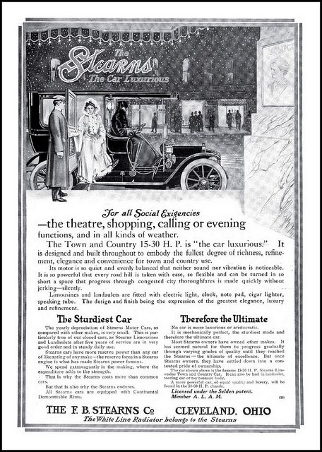 1910 The Stearns Town & Country the Car Luxurious for all Social Exigencies -F.B. Sterns Co., Cleveland Ohio