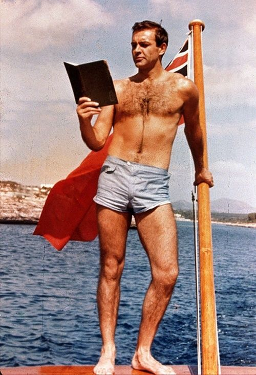 Sean Connery: oh, you know. Just readin a book in ma short shorts. Plus I'm on a boat. Jk, I love this guy.