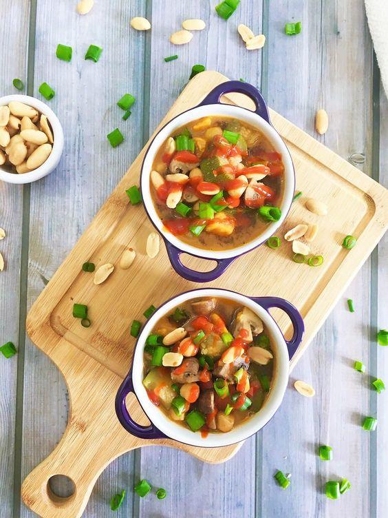 Thai Peanut Chickpea Soup for Dump Dinner