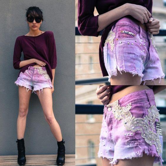 pink gefärbte Jeans Shorts im Ombre-Effekt mit Spitze verziert