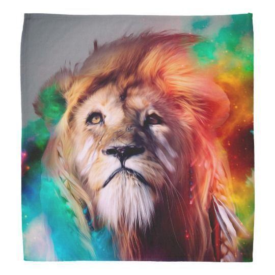 Wallpaper Colorful Lion Looking Up Feathers Space Universe Bandana Zazzle Com My Wallpaper Fondos De Pantalla Ordenador Fondos De Pantalla Gratis Gato De Acuarela