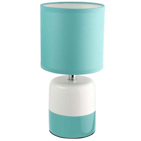 petite lampe au style moderne et au colorise bleu turquoise et blanc tr s actuel okla id ale. Black Bedroom Furniture Sets. Home Design Ideas