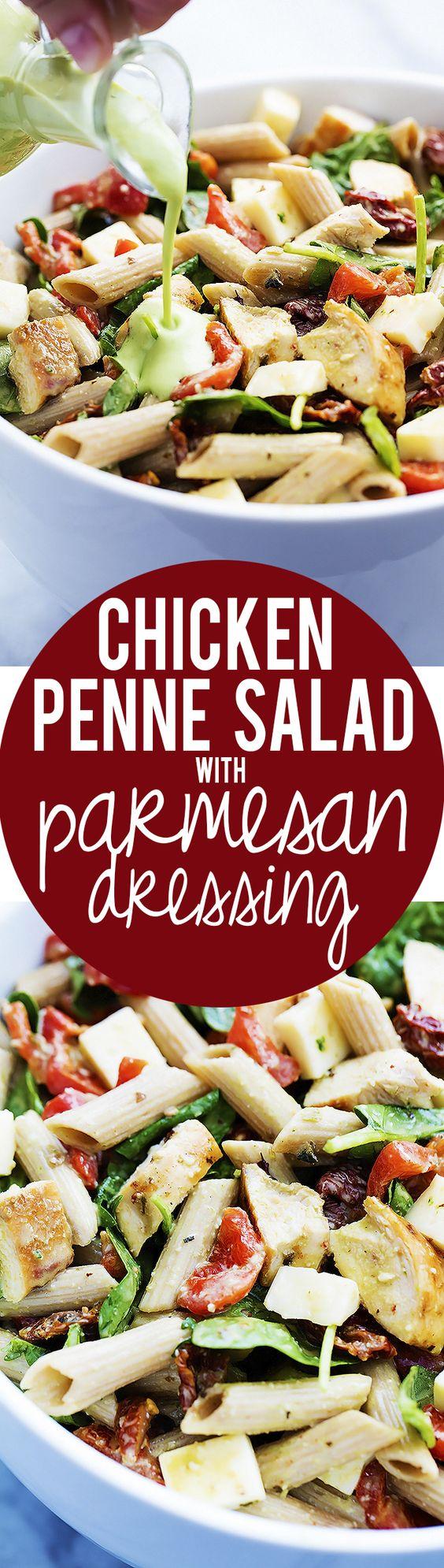 Chicken Penne Salad with Creamy Parmesan Dressing | Recipe | Chicken ...