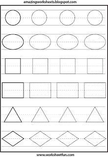 Shapes Tracing Worksheets | Printable Worksheets | Pinterest ...