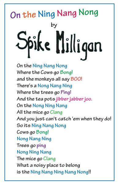 poem by spike milligan- ning nang nong--featuring ing ...