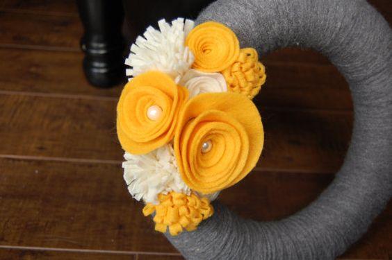 Yellow and Gray Felt Flower Yarn Wreath by EllieBootsCreations, $22.00